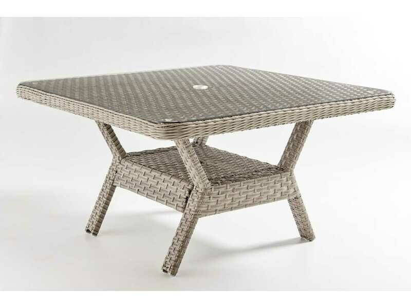 South Sea Rattan Mayfair Wicker Pebble 48'' Wide Square Glass Top Dining Chat Table