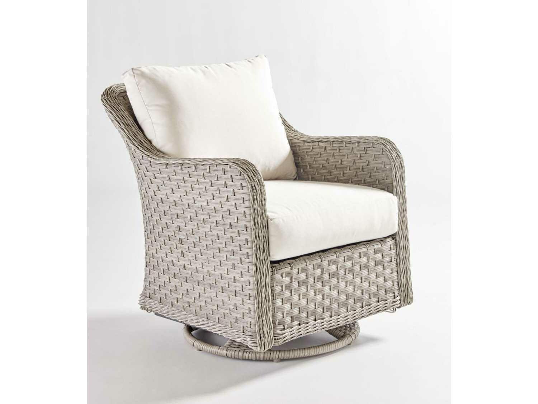 South Sea Rattan Mayfair Wicker Pebble Swivel Glider Lounge Chair