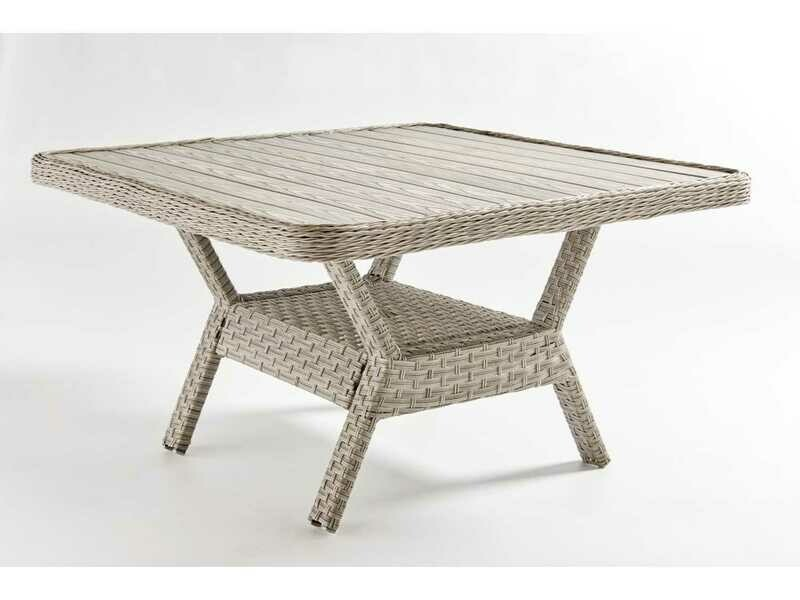 South Sea Rattan Mayfair Wicker Pebble 48'' Wide Square Poly Top Dining Chat Table