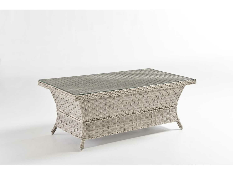 South Sea Rattan Mayfair Wicker Pebble 42''W x 24''D Rectangular Glass Top Coffee Table