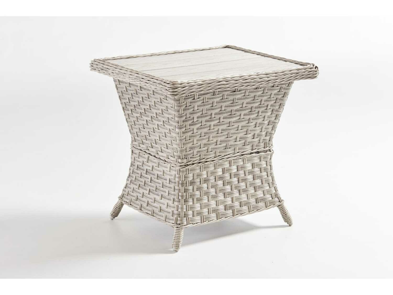 South Sea Rattan Mayfair Wicker Pebble 24''W x 20''D Rectangular Poly Top End Table