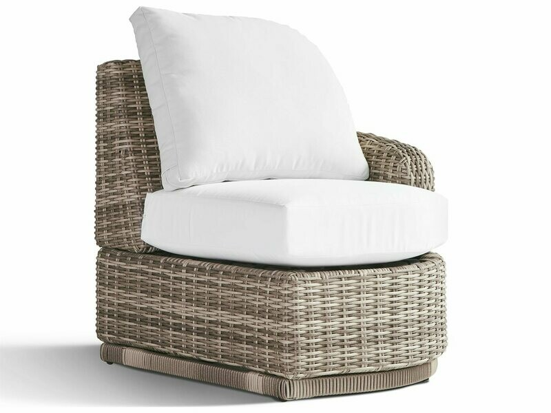 South Sea Rattan Luna Cove Wicker Right Side Facing Lounge Chair in Fitted Back