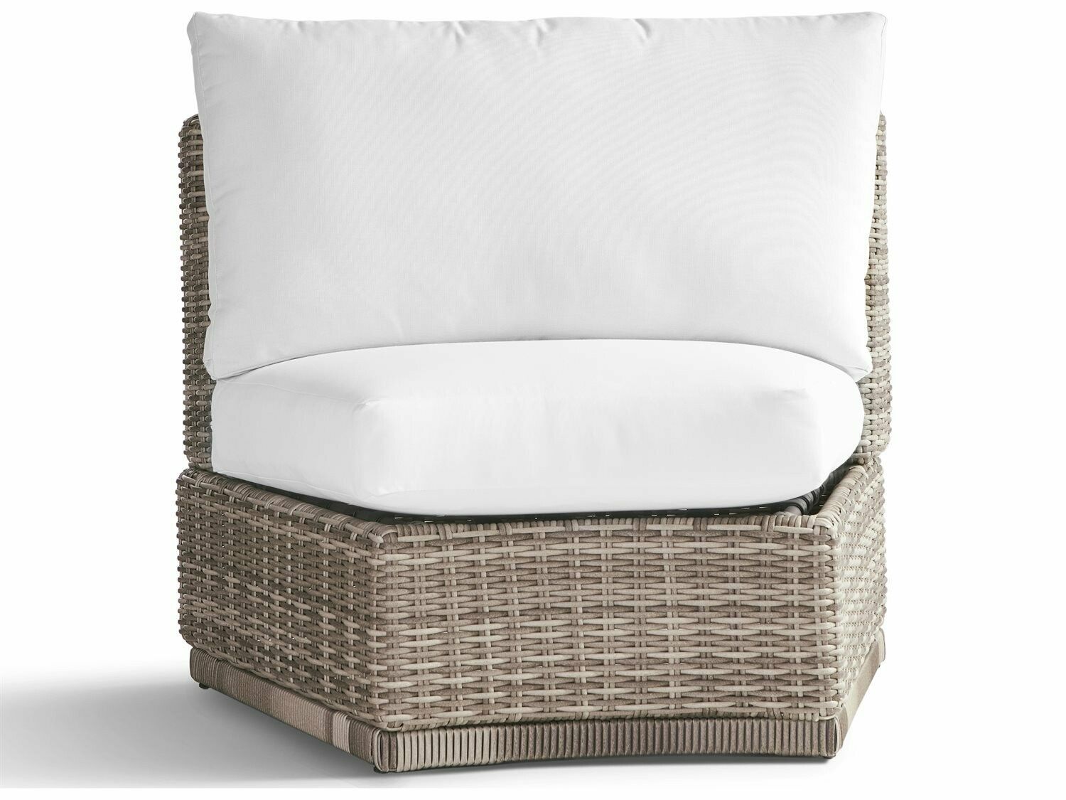 South Sea Rattan Luna Cove Wicker Curved Corner Lounge Chair in Scatter Back