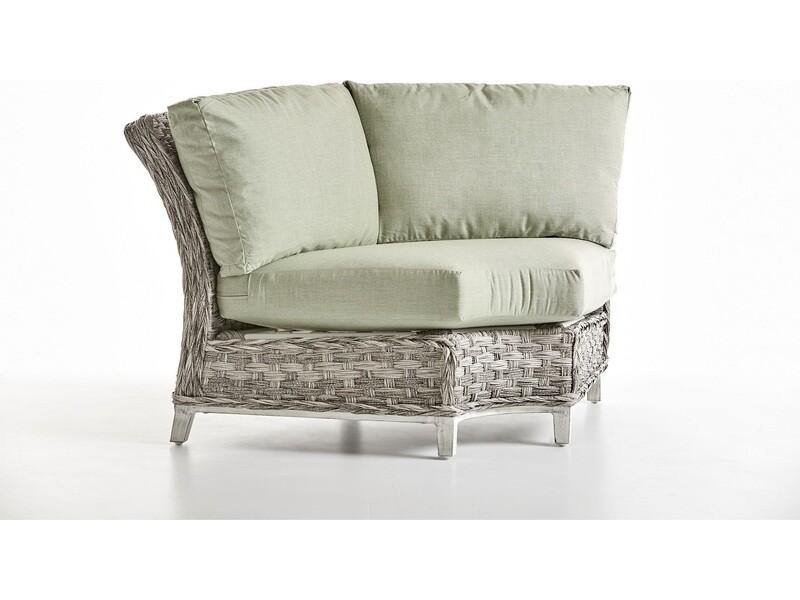 South Sea Rattan Grand Isle Wicker Wedge Corner Lounge Chair