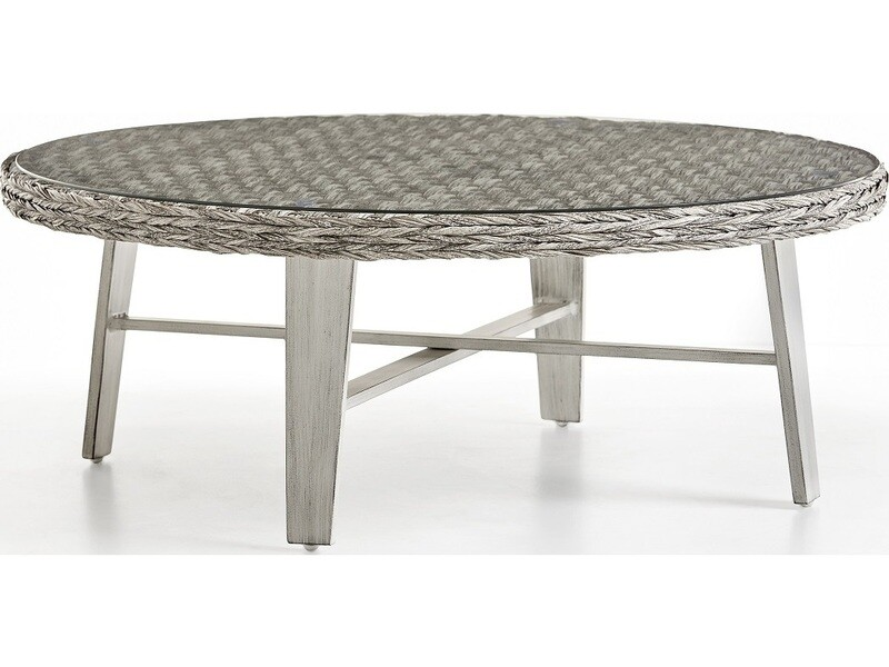 South Sea Rattan Grand Isle Wicker 48'' Wide Round Glass Top Coffee Table