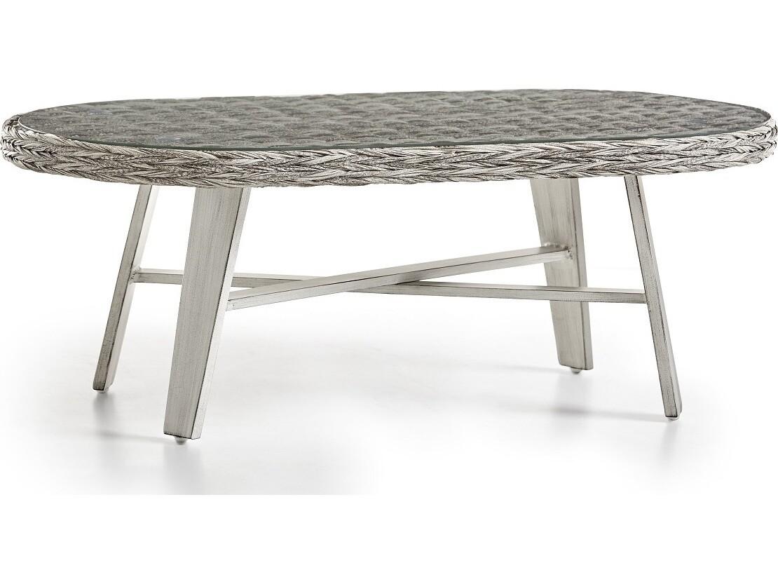 South Sea Rattan Grand Isle Wicker 48''W x 24''D Oval Glass Top Coffee Table