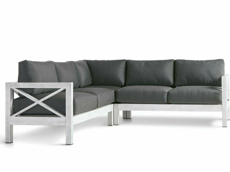 South Sea Rattan Farlowe Aluminum Brushed White Corner Lounge Chair