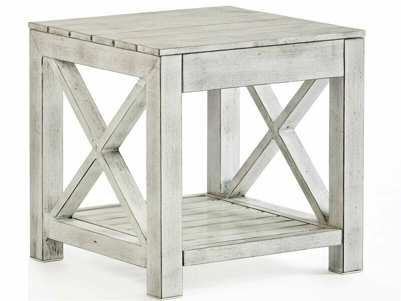 South Sea Rattan Farlowe Aluminum Brushed White 23'' Wide Square End Table