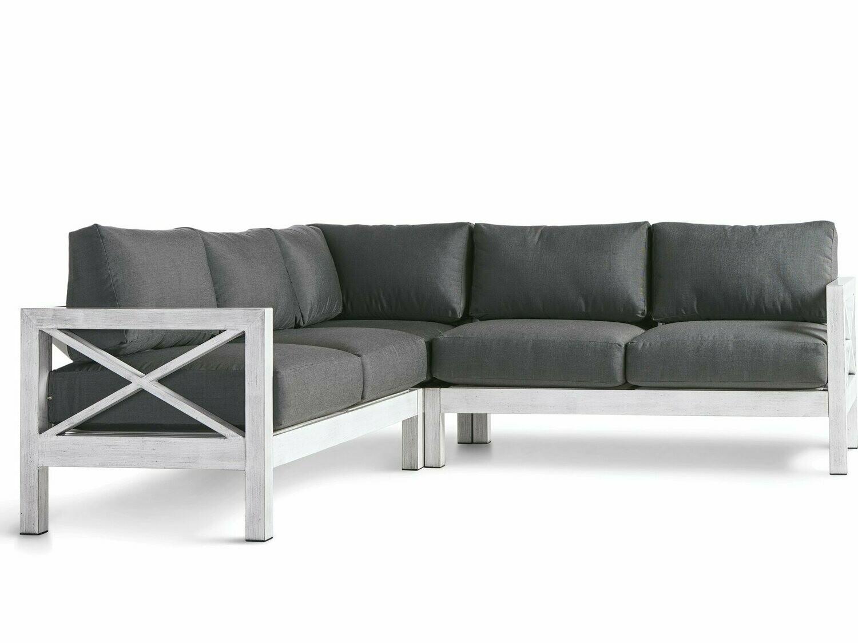 South Sea Rattan Farlowe Aluminum Brushed White Sectional Lounge Set