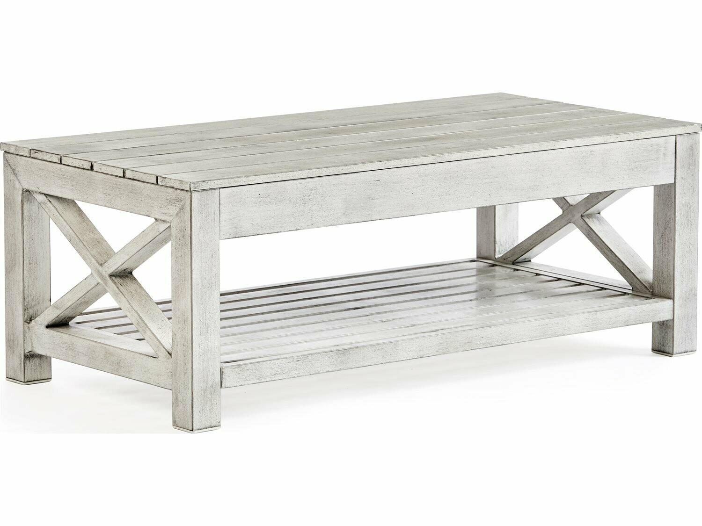South Sea Rattan Farlowe Brushed White 46''W x 23''D Rectangular Coffee Table