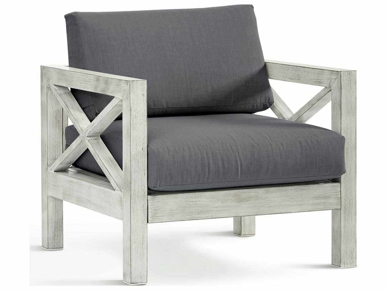South Sea Rattan Farlowe Aluminum Brushed White Lounge Chair