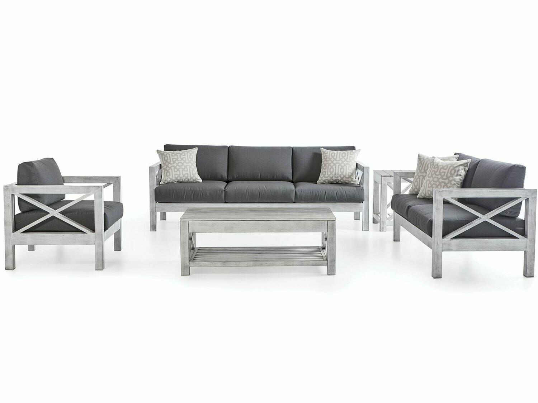 South Sea Rattan Farlowe Aluminum Brushed White Lounge Set