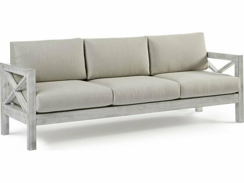 South Sea Rattan Farlowe Aluminum Brushed White Sofa