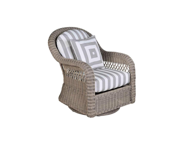 South Sea Rattan Arcadia Wicker Driftwood Swivel Glider Lounge Chair