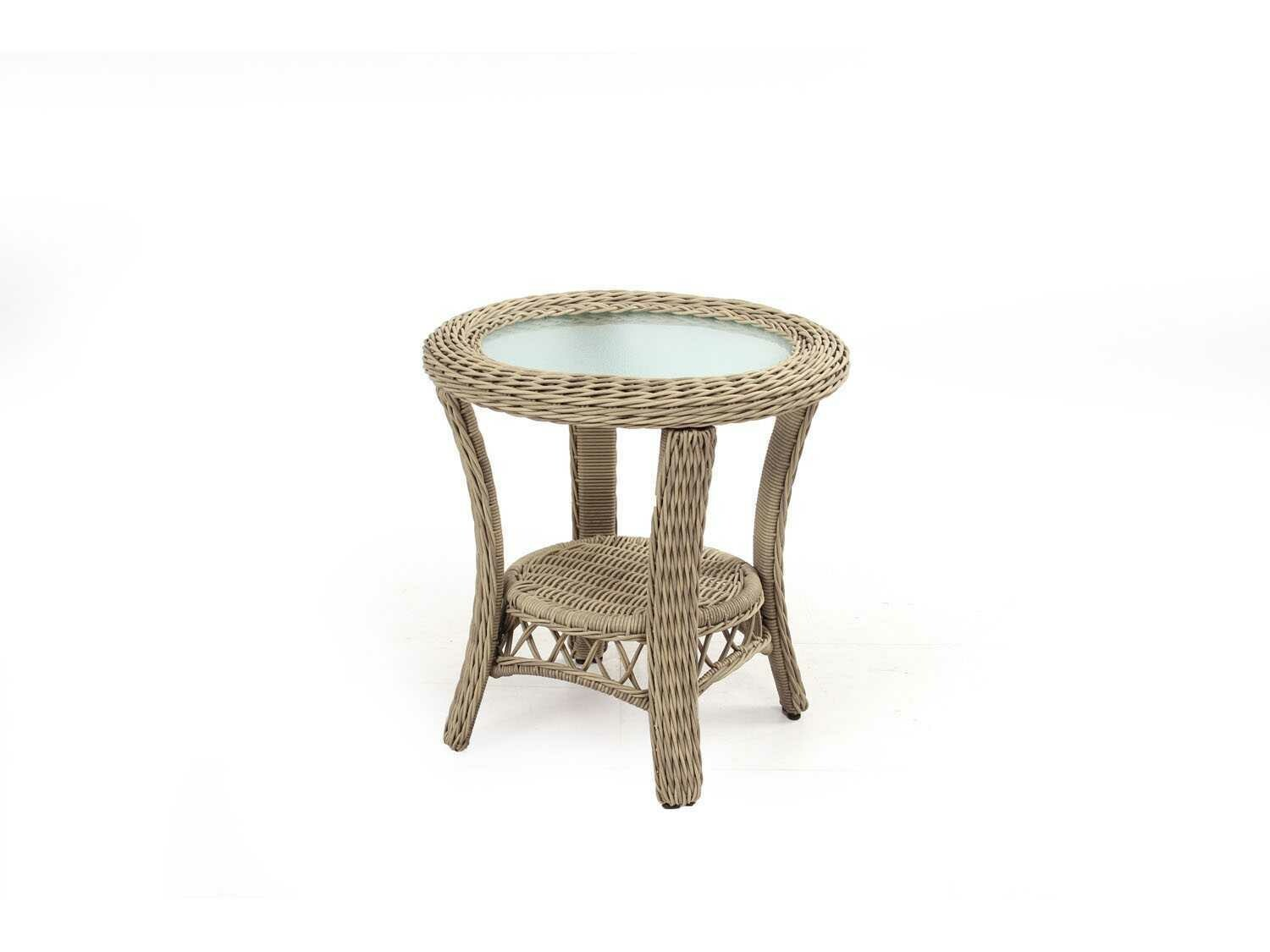 South Sea Rattan Arcadia Wicker Driftwood 23'' Wide Round End Table