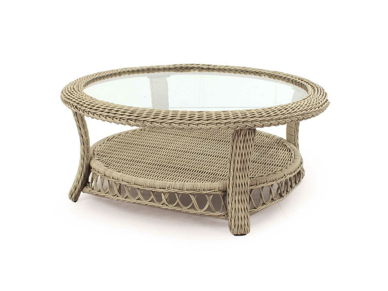 South Sea Rattan Arcadia Wicker Driftwood 38'' Wide Round Coffee Table