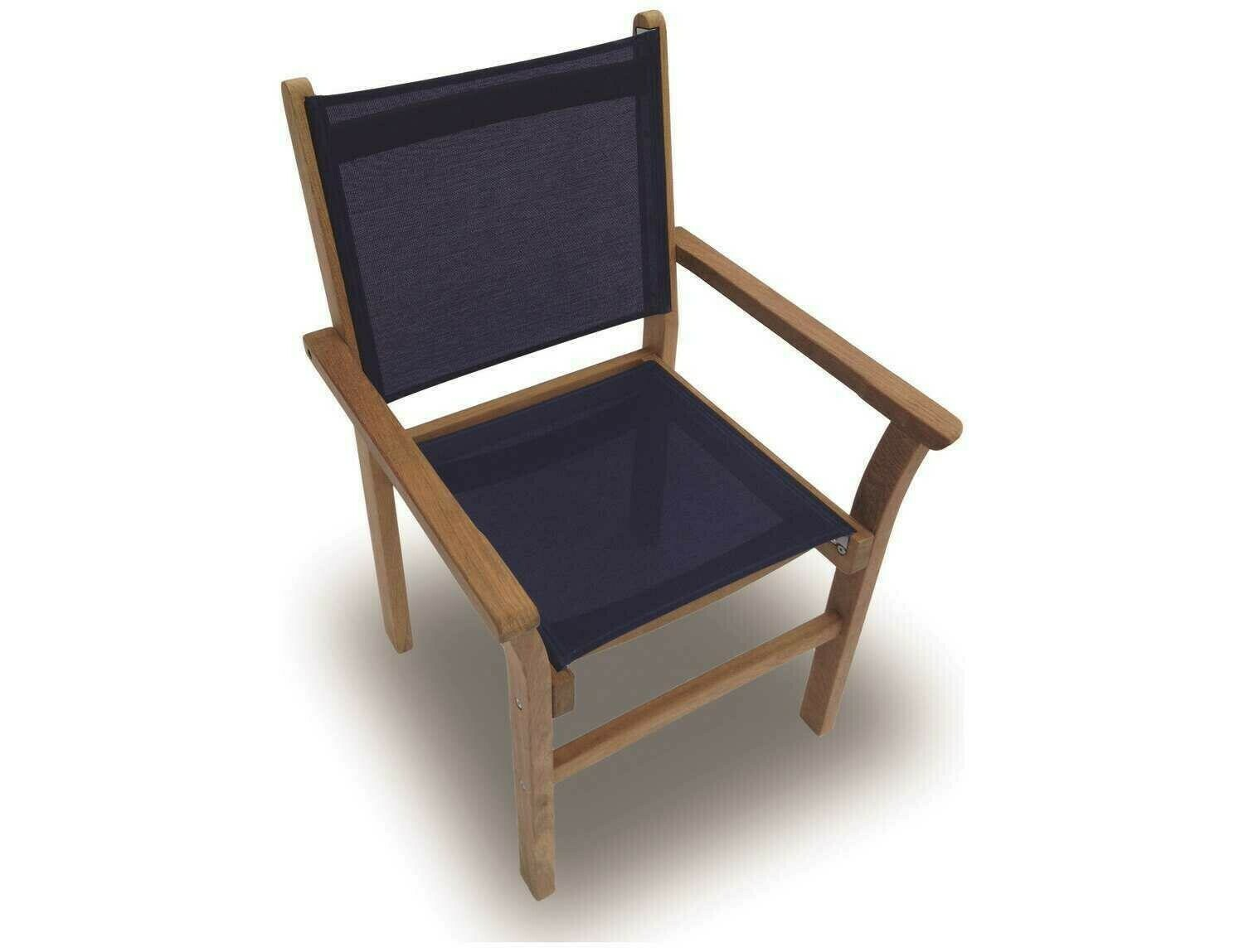 Royal Teak Collection Captiva Navy Sling Stackable Dining Arm Chair