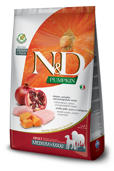 Farmina N&D Pumpkin Chicken & Pomegranate Adult Medium & Maxi Dog Dry Food, 5.5-lb