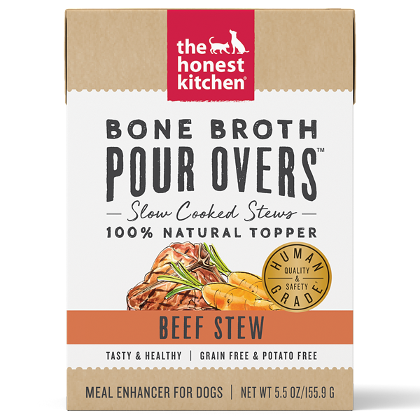The Honest Kitchen Pour Over Bone Broth Beef Topper Dog Food, 5.5-oz
