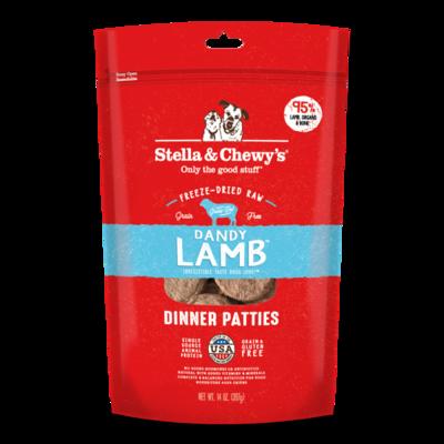 Stella & Chewy's Dandy Lamb Dinner Patties Grain-Free Freeze-Dried Dog Food, 14-oz bag