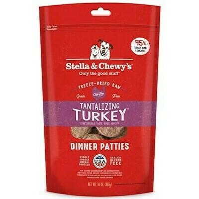 Stella & Chewy's Tantalizing Turkey Dinner Patties Grain-Free Freeze-Dried Dog Food, 14-oz bag