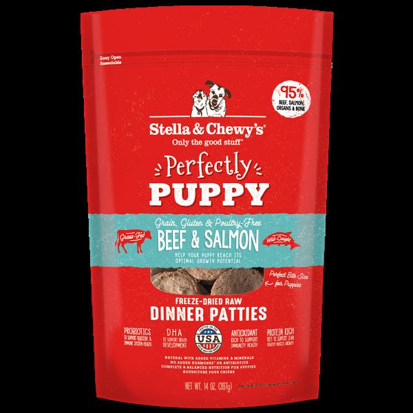 Stella & Chewy's Perfectly Puppy Beef & Salmon Dinner Patties Freeze-Dried Raw Dog Food, 14-oz