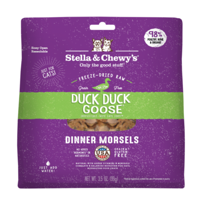 Stella & Chewy's Duck Duck Goose Dinner Morsels Grain-Free Freeze-Dried Cat Food, 3.5-oz bag