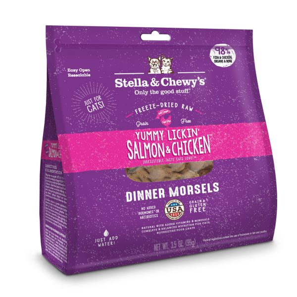 Stella & Chewy's Yummy Lickin' Salmon & Chicken Dinner Morsels Grain-Free Freeze-Dried Cat Food, 3.5-oz bag