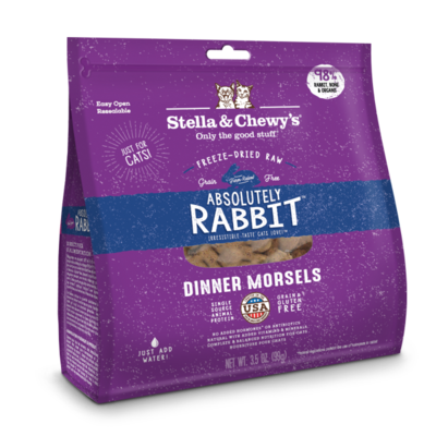 Stella & Chewy's Absolutely Rabbit Dinner Morsels Raw Freeze-Dried Cat Food, 3.5-oz bag