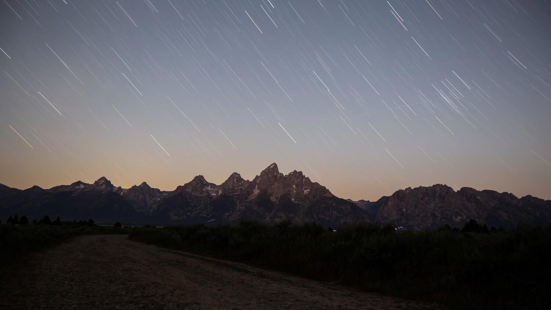Grand Tetons Star Trails Fine Art Framed Print
