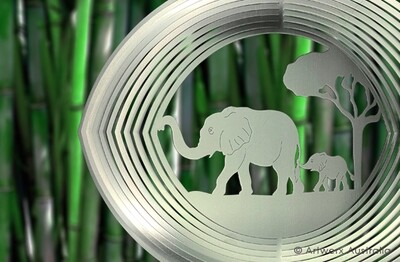 Aussie Spinners - Designer Collection - Elephants 30cm - 304 Stainless Steel & Made in Australia