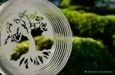 Aussie Spinners - Designer Collection - TREE OF LIFE - 30cm - 304 Stainless Steel & Made in Australia