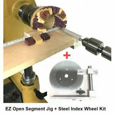 EZ Open Segment Tail Stock Jig With Index Wheel System for Woodturning Lathes