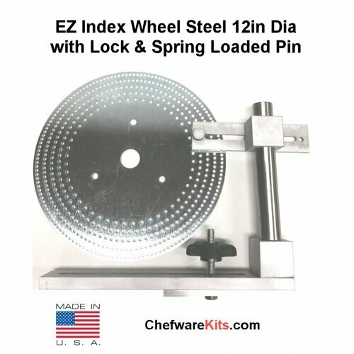 EZ Index Wheel Steel 12in Dia w/ 34mm center hole for 33mm spindle w/ Locking Post and Spring Loaded Pin for woodturning lathe