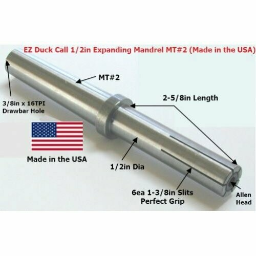 EZ Duck Call 1/2in Expanding MT#2 Mandrel (Woodturning Kit) Made in the USA