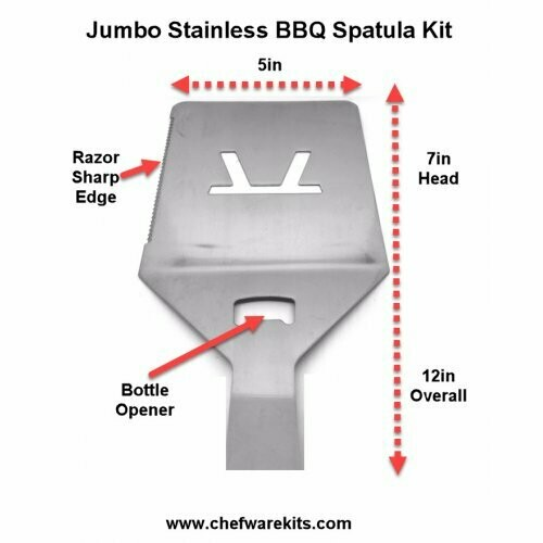 BBQ Grilling Jumbo XL Spatula with Bottle Opener Woodturning Kit (Stainless)