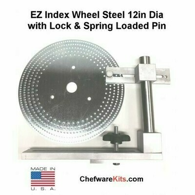 EZ Index Segmented Wheel Steel 12in Dia with 1in hole and Locking Post with Spring Loaded Pin for Woodturning