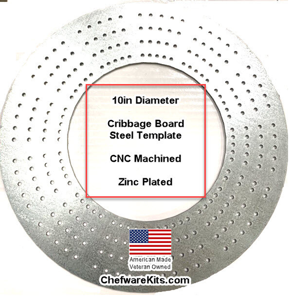 Cribbage Template Steel 10in Round (wood working) Made in USA