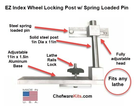 EZ Index Wheel  Locking Post with Spring Loaded Pin for Woodturning