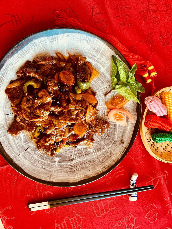 Filet de bœuf sauce haricot noir