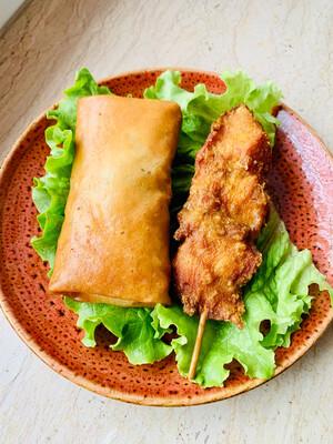 Springroll and chicken skewer