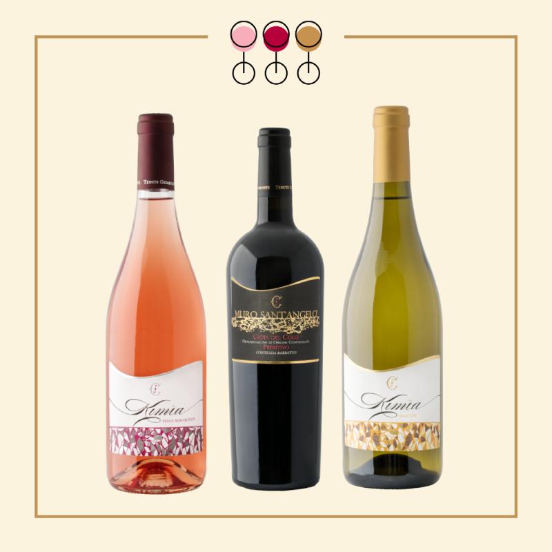 Tris Primitivo Barbatto 2017, Rosato Pinot 2019, Moscato Secco 2017.