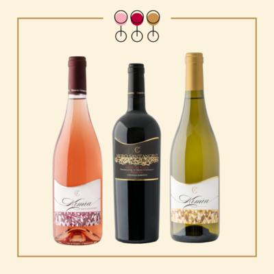 Tris Primitivo Barbatto 2017, Rosato Pinot 2019, Moscato Secco 2017. IN REGALO Olio Extravergine