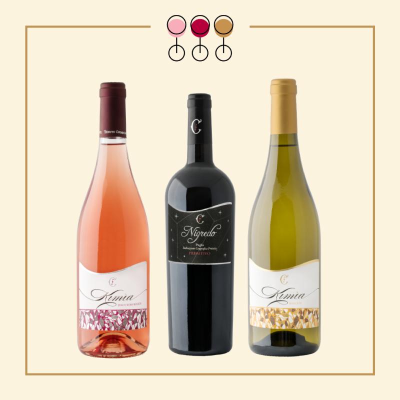 Tris Primitivo Nigredo 2017, Rosato Pinot 2019, Moscato Secco 2017. IN REGALO Olio Extravergine