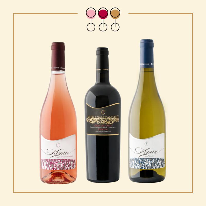Tris Primitivo Barbatto 2017, Rosato Pinot 2019, Fiano 2019. IN REGALO Olio Extravergine