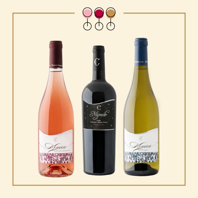 Tris Primitivo Nigredo 2017, Rosato Pinot 2019, Fiano 2019.