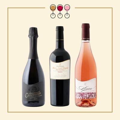 Tris Brut 2018, Primitivo 2017, Pinot Rosato 2019. IN REGALO Olio Extravergine