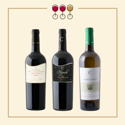 TRIS Primitivo Nigredo 2017, Primitivo Gioia 2017, Chardonnay 2019. IN REGALO Olio Extravergine