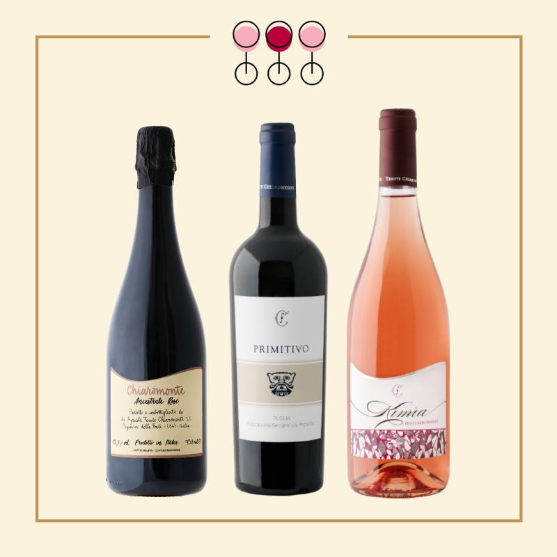 Tris Spumante Brut Rosé 2017, Primitivo 2019, Rosato Pinot 2019.