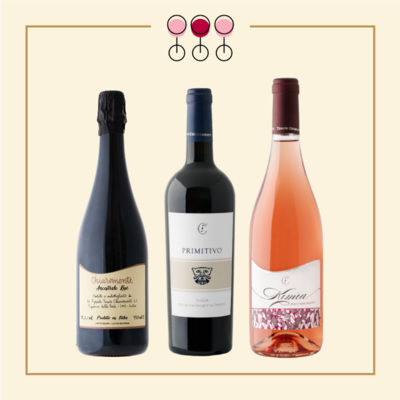 Tris Spumante Brut Rosé 2017, Primitivo 2019, Rosato Pinot 2019. IN REGALO Olio Extravergine